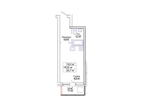 Планировки Жилой комплекс ЕВРОПЕЙСКИЙ - Планировка однокомнатной квартиры 26,7 кв. м