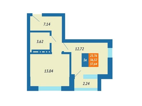 Планировка 1-комн 37,64 м²