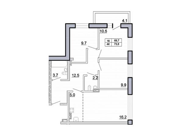 Планировка 4-комн 73,8 м²