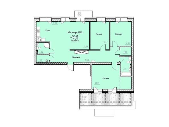Планировка 4-комн 141,03 м²