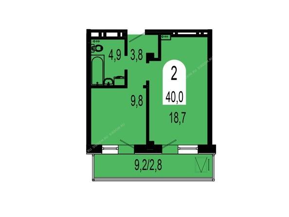 Планировки Жилой комплекс ТИХИЕ ЗОРИ, дом 1 (Красстрой) - Планировка двухкомнатной квартиры 40 кв.м