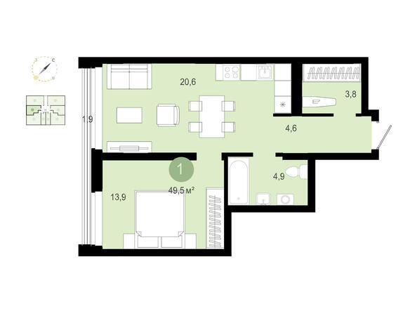 1-комнатная 49,48 кв.м