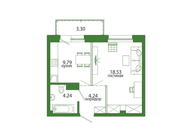 1-комнатная 40,44 кв.м
