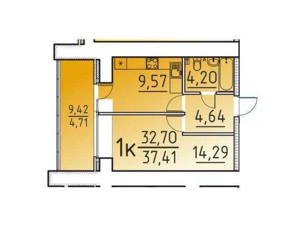 Планировка 1-комн 32,7, 37,41 м²