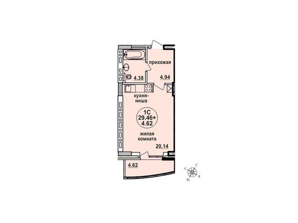 Планировки Жилой комплекс ЗАЕЛЬЦОВСКИЙ, 1 этап - Планировка однокомнатной квартиры 29,46 кв.м