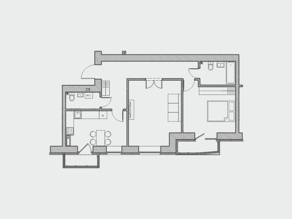 Планировки Жилой комплекс ПРЕОБРАЖЕНСКИЙ, дом 4 - Планировка двухкомнатной квартиры 71 кв.м