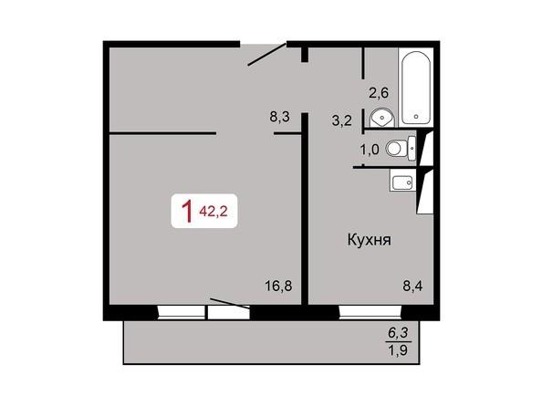 1-комнатная 42,2 кв.м