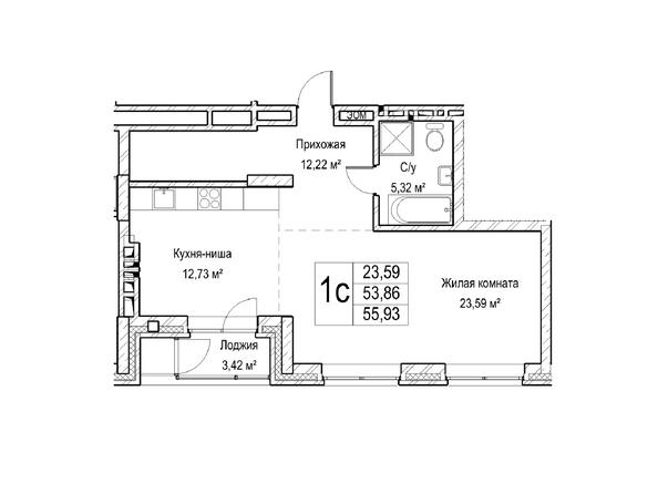 Планировки Жилой комплекс ЯДРИНЦЕВСКИЙ КВАРТАЛ - 1-комнатная студия 53,8 кв.м. Блок-секция 1