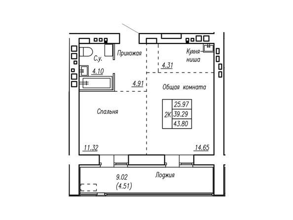 Планировки Жилой комплекс МОТОР, корпус 2 - Планировка двухкомнатной квартиры 43,8 кв.м