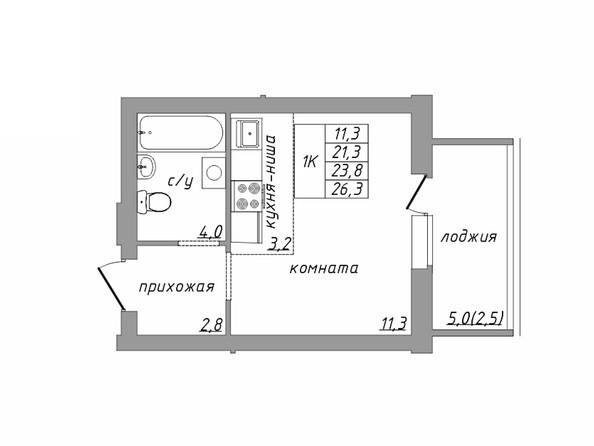 Планировка 1-комн 23,8, 26,3 м²