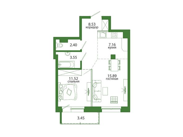 Планировка 2-комн 52,5, 52,74 м²