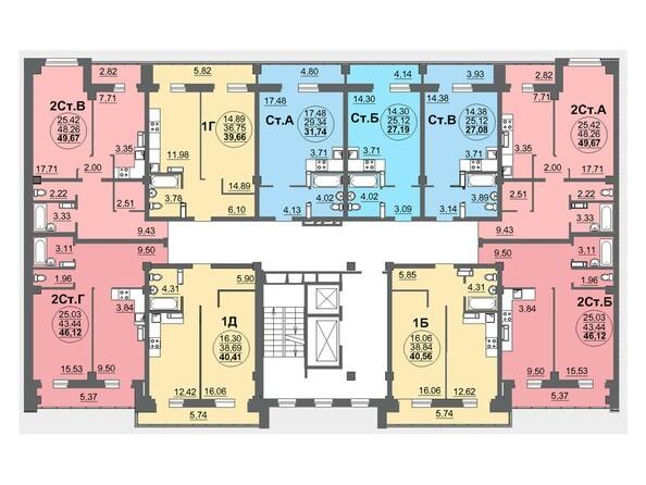 Планировки Жилой комплекс МАТРЁШКИ, дом 5 - Планировка 2-3 этажей, 2 б/с