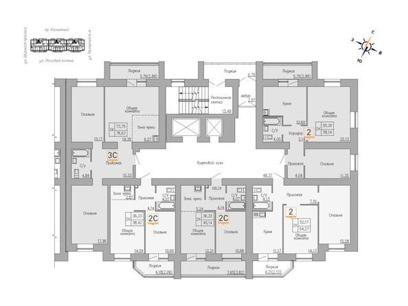 Блок-секция 1. Планировка 6-16 этажей