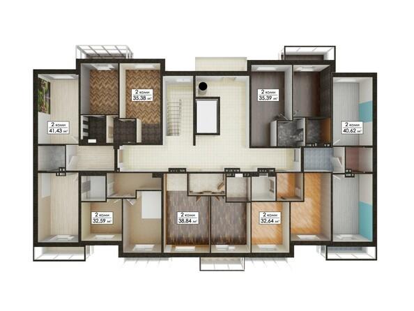 Планировки Жилой комплекс ЮГО-ЗАПАДНЫЙ, б/с 8-10 - Блок-секция 9. Планировка типового этажа