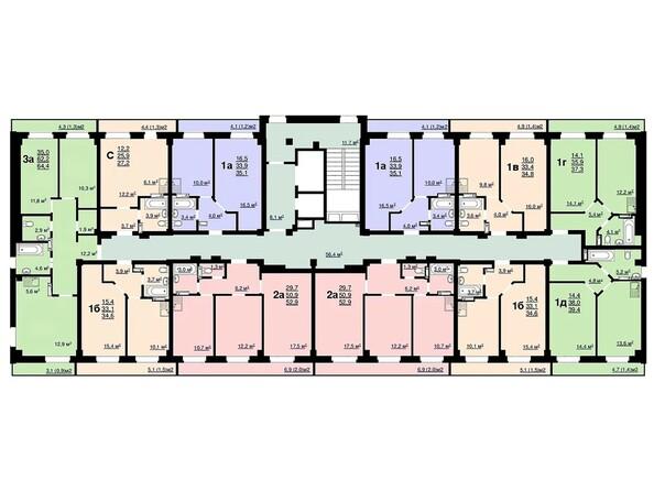 Планировки Жилой комплекс Ласточка, дом 2 - Планировка типового этажа