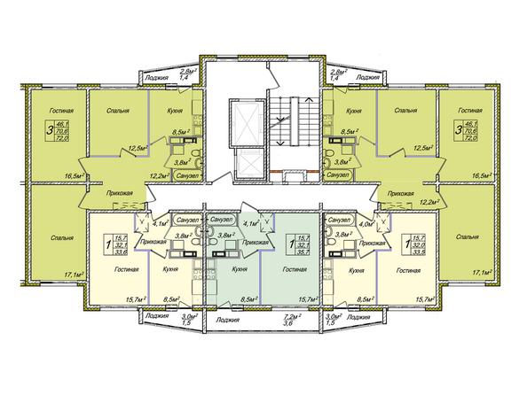 Планировки Жилой комплекс ВЕНЕЦИЯ-2, дом 6 - Подъезд 1. Планировка 13-17 этажей