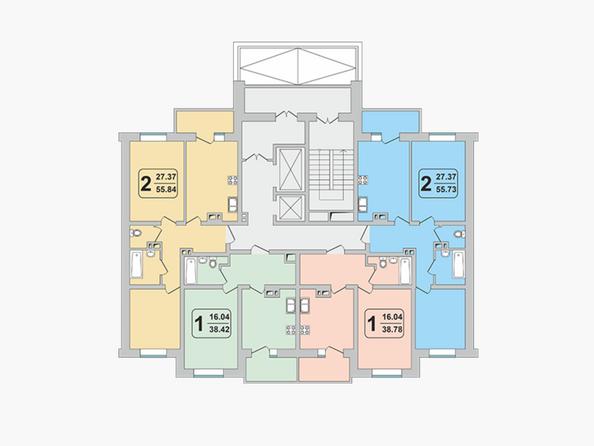 Планировки ГРАНД-ПАРК, б/с 2-1 - Блок-секция 2-1. Планировка 3-9 этажей