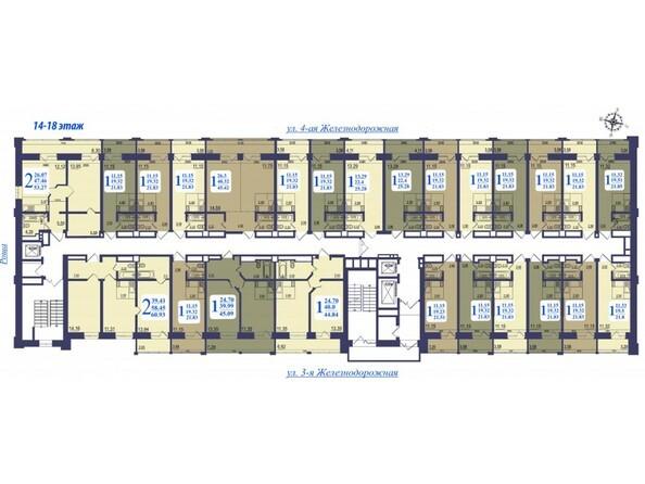 Планировки Жилой комплекс «ALMA MATER» (Альма Матер) - Планировка 14-18 этажей