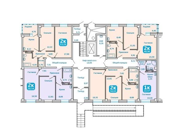 Планировки Жилой комплекс Сосновоборск, 7 мкр, 1 этап - Подъезд 2. Планировка 1 этажа