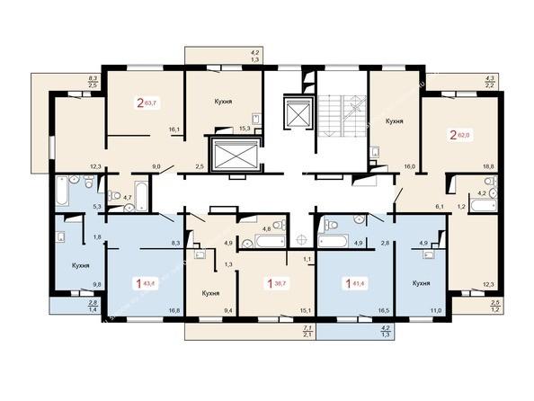 Планировки Жилой комплекс КУРЧАТОВА, дом 6, стр 1 - 1 блок-секция. Планировка 3-12 этажей