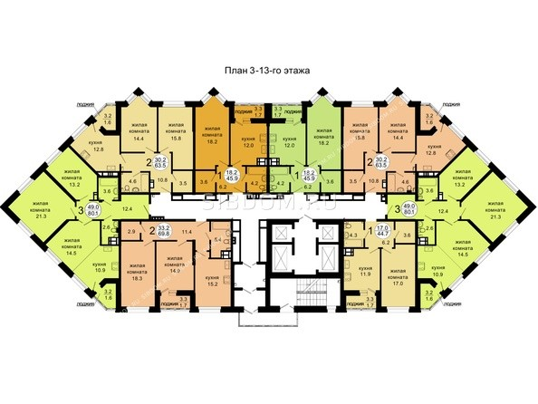 3-13 этажи