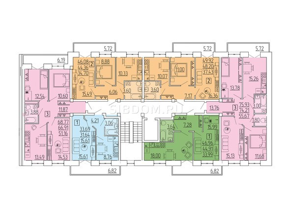 Блок-секция Б. Планировка типового этажа