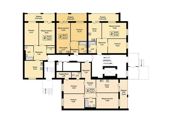Планировки Жилой комплекс ДРУЖНЫЙ-3, дом 15 - Подъезд 2. Планировка 1 этажа