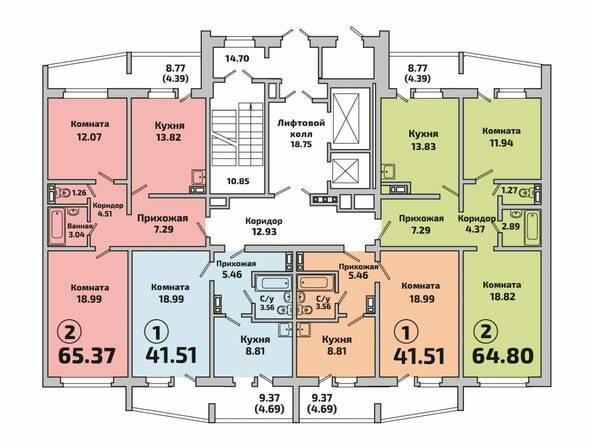 Планировки Жилой комплекс РОДНИКИ, дом 603 - Планировка 3 подъезда дом 603