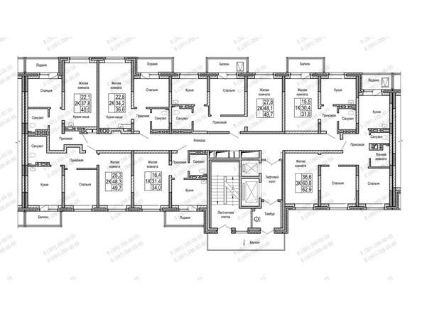 Планировки Жилой комплекс НА ШУМЯЦКОГО - Блок-секция 2. Планировка типового этажа