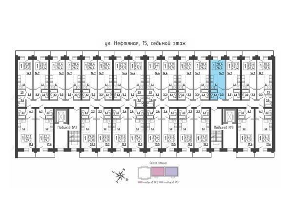 Планировки Жилой комплекс Нефтяная, 15 - Планировка 7 этажа