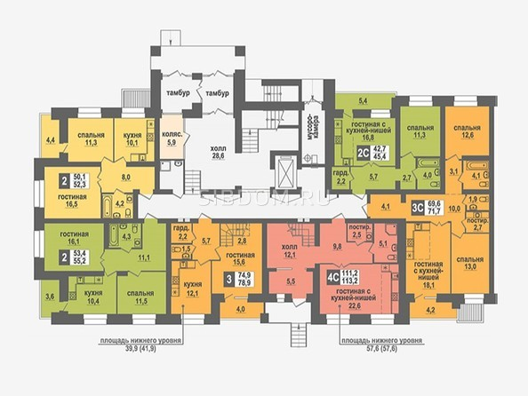 Планировки Жилой комплекс НИКОЛЬСКИЙ, дом 4 - Подъезд 3. Планировка 1 этажа