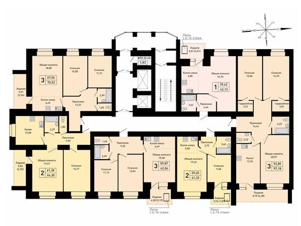 Блок-секция 3. Планировка 3-8 этажей