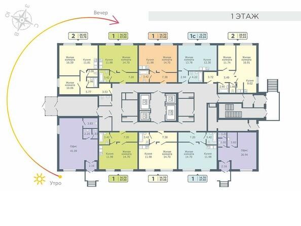 Планировки Жилой комплекс СОКОЛЬНИКИ, стр 1 - Планировка 1 этажа