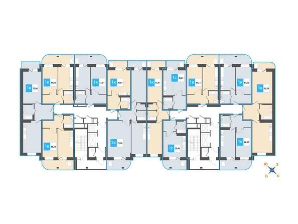 Планировки Жилой комплекс Нарымский квартал (Дом на Плановой), 22-23 б/с - Планировка 13-19 этажей