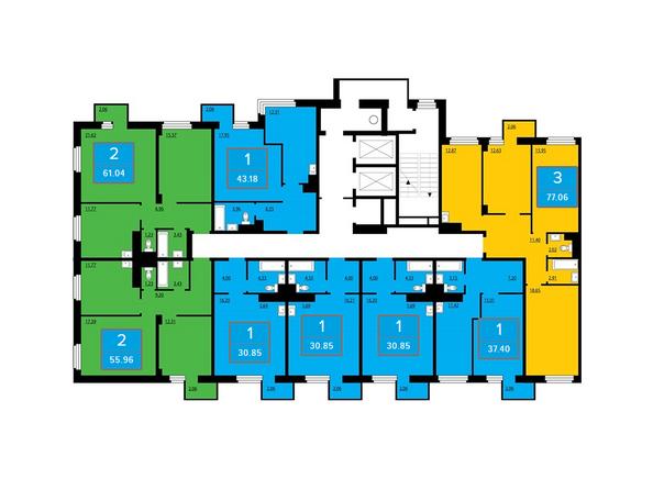Планировки Жилой комплекс ПРЕОБРАЖЕНСКИЙ, дом 13 - Подъезд 2. Планировка нечетных этажей