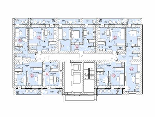 Планировки Жилой комплекс ЛЮБИМЫЙ, дом 7 - Подъезд 2. Планировка 1-11 этажей