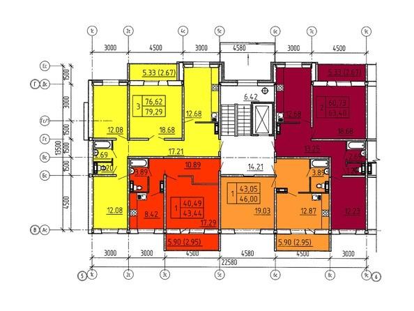 Планировки Жилой комплекс Павловский тракт, 305г - Планировка 2 этажа, 6 б/с
