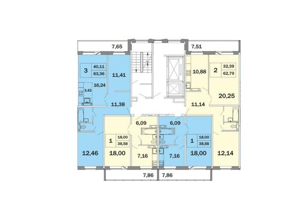 Планировки Жилой комплекс РАДОНЕЖСКИЙ, КПД-11 - Блок-секция 2 , планировка типового этажа