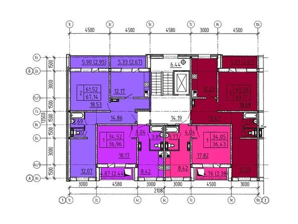 Планировки Жилой комплекс Павловский тракт, 305г - Планировка типового этажа, 9 б/с