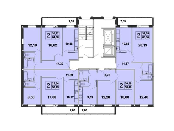 Планировка типового этажа, 1 б/с