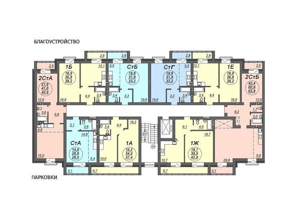 Планировки Жилой комплекс СВОБОДА, дом 7 - Подъезд 1. Планировка 3 этажа