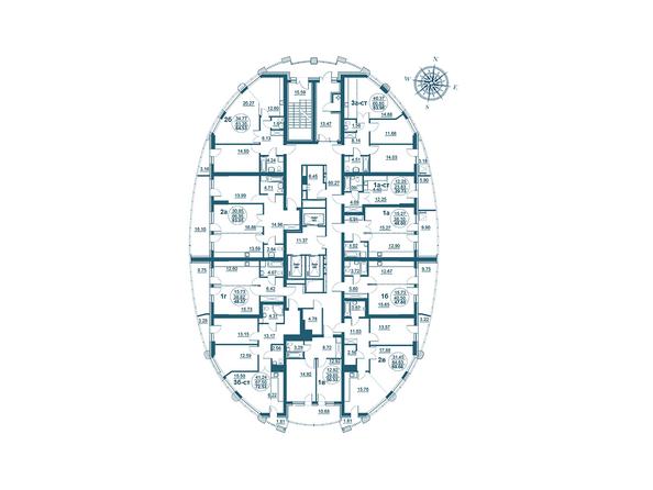 Планировки Жилой комплекс ФЛОТИЛИЯ - Планировка 3-20 этажей дома «Адмирал Ушаков»