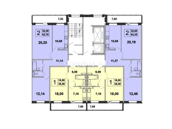 Планировки Жилой комплекс ЗЕЛЁНЫЕ ГОРКИ, КПД-5 - Планировка типового этажа, 3 б/с