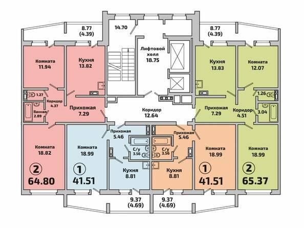 Планировки Жилой комплекс РОДНИКИ, дом 603 - Планировка 4 подъезда дом 603