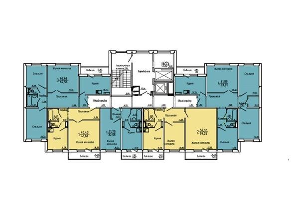 Планировки Жилой комплекс Нанжуль-Солнечный мкр, дом 5 - Подъезд 7. Планировка 2-14 этажей