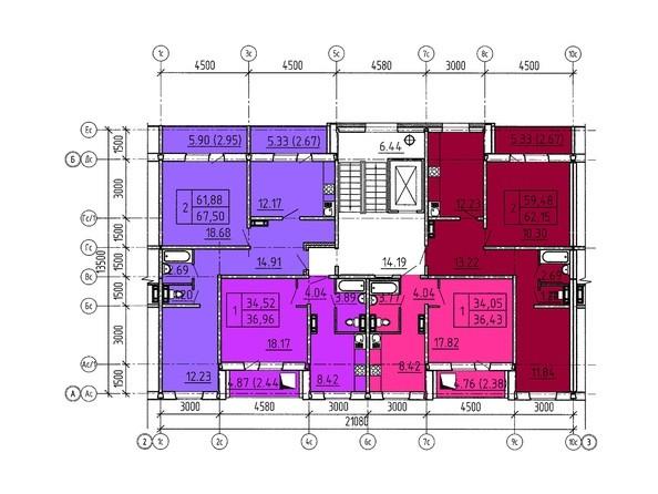 Планировки Жилой комплекс Павловский тракт, 305г - Планировка типового этажа, 8 б/с