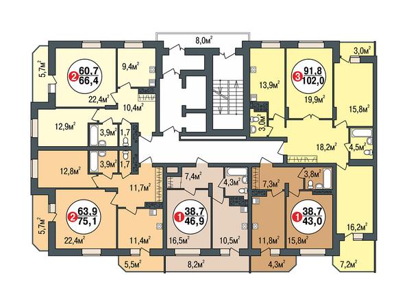 Планировки Жилой комплекс ПОКРОВСКИЙ, б/с 1, 2 - Блок-секция 1. Планировка типового этажа