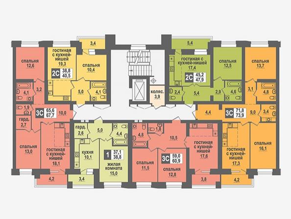 Планировки Жилой комплекс НИКОЛЬСКИЙ, дом 4 - Подъезд 2. Планировка 6,7 этажей