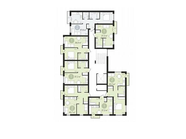 Подъезд 1. Планировка 2-9 этажей
