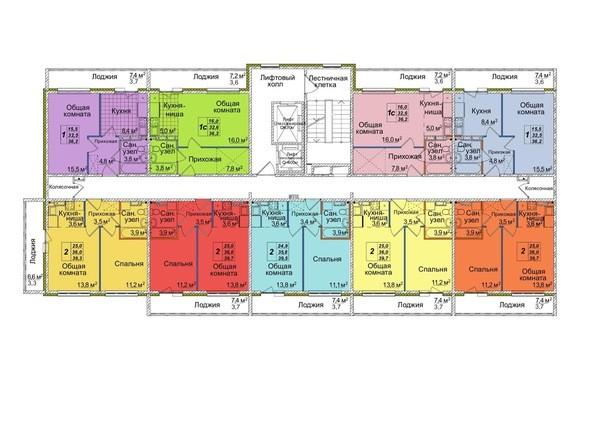 Планировки Жилой комплекс ВОСТОЧНЫЙ, 85/1б - Блок-секция 3. Планировка типового этажа